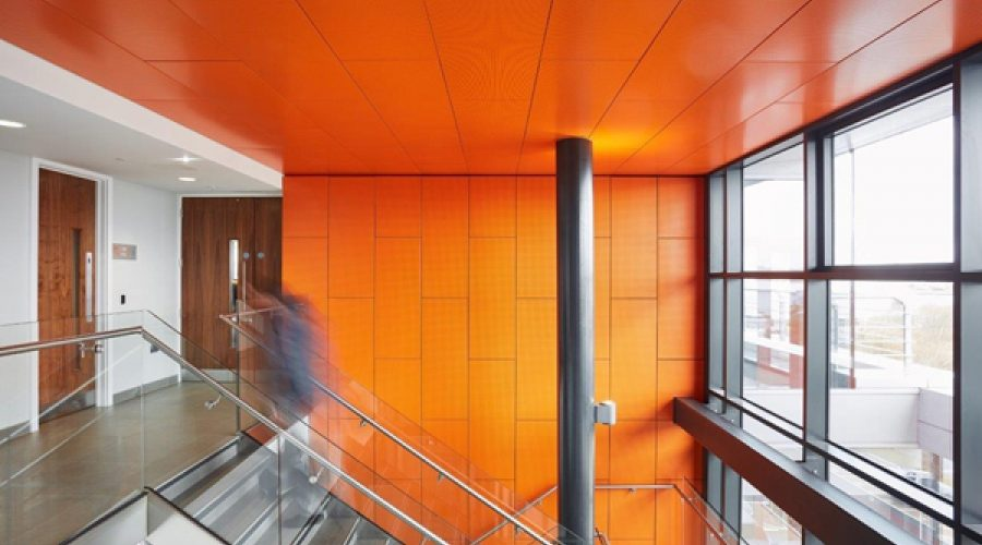 Orange Armstrong Ceilings Help the Sun Rise on a Regeneration First